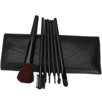 7 PCS Cosmetic Makeup Tool Powder Blush Eyelash Brow Concealer Lip Brush Kit Set